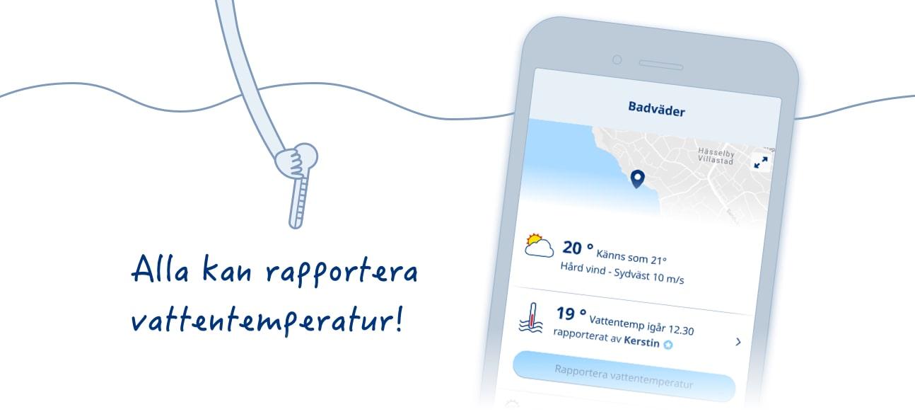 Badväder med vattentemperatur i Klarts app